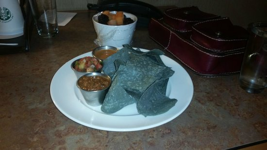 The Westin Westminster: Midnight snack - tortilla chips with three different kinds of salsa