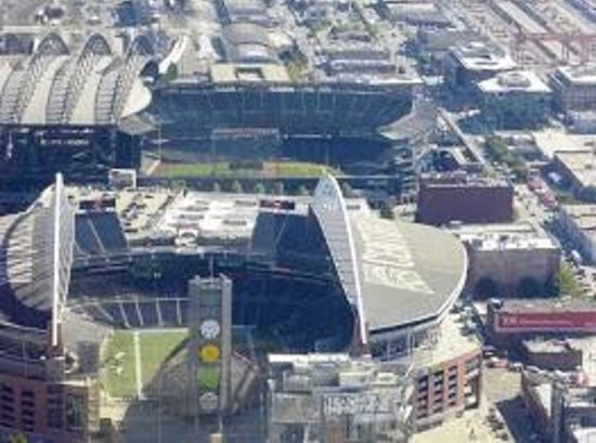 Sky View Observatory : Close up of the stadiums from up top