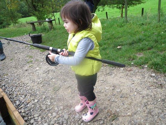 Kilnsey Park: 2 yr old daughter having a go at fishing