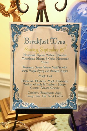 Scarborough Fair Bed & Breakfast: Menu