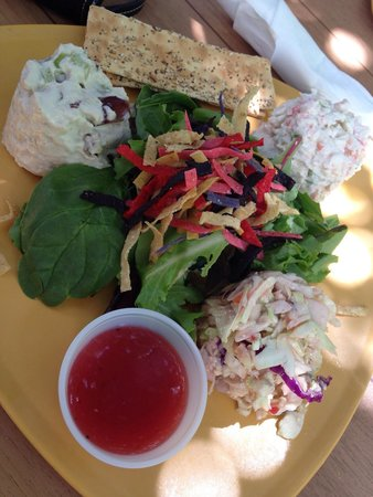 Sweet Sage Cafe: Salad trio - seafood salad, chicken salad, and raspberry blue cheese coleslaw.