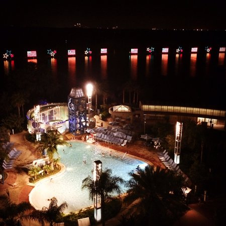 Bay Lake Tower at Disney's Contemporary Resort: View of night time water pageant parade!