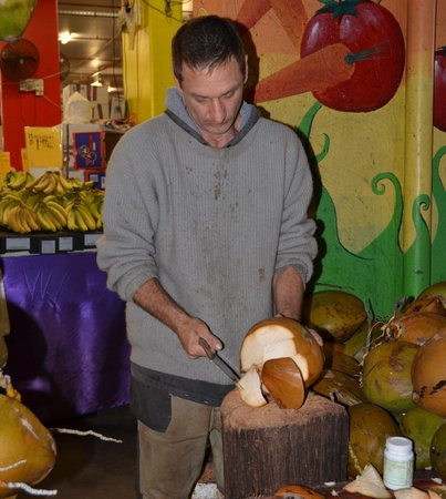 Rusty's Market: Chopping the coconut