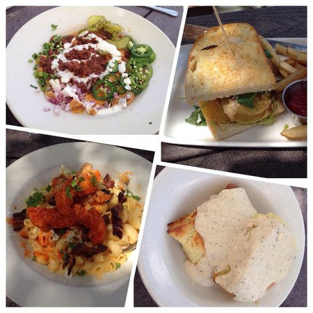 Oddfellows: Clockwise from top left: Frito Pie, BLT with fried tomato, biscuits & gravy and buffalo chicken