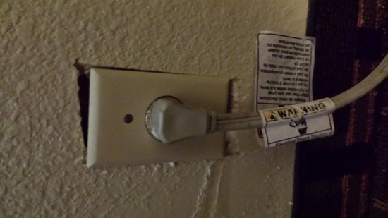 Days Inn Chattanooga Lookout Mountain West: Hole between wall and outlet.