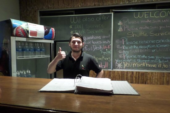 Alajuela Backpackers Boutique Hostel : Andre at the front desk.  Such a great help.