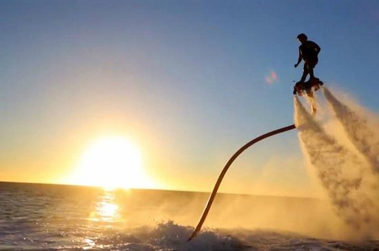 Go Flyboard: fly boarding with the sun set:)