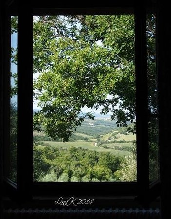 Podere Poggio al Cipresso: view from  the room to the vale of Orcia
