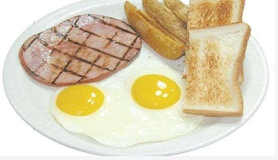 Tante's Island Cuisine : Traditional. 2 Eggs cooked to order with your choice of Bacon, Ham, Link Portuguese Sausage