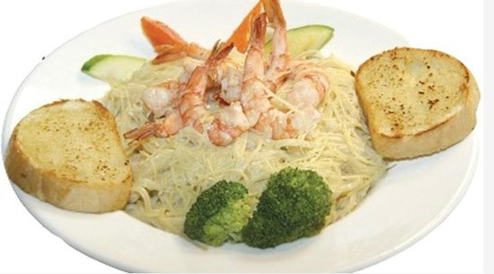 Tante's Island Cuisine: Linguine Alfredo with Shrimp