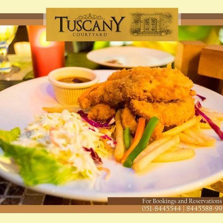 Tuscany Courtyard: Chicken strips with French Fries!