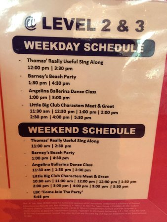 The Little Big Club : Activities Schedule
