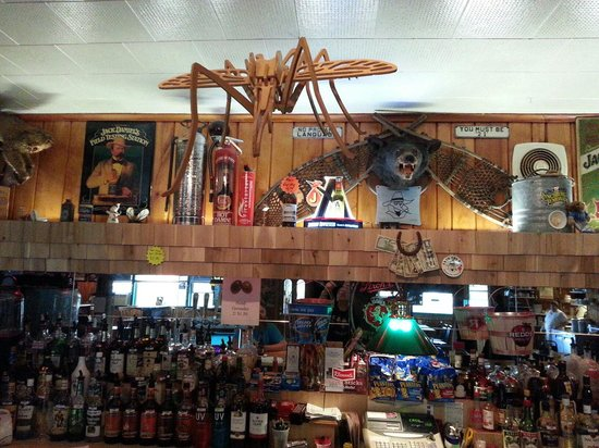 Toivola, MI: Mosquito sculpture over the bar.