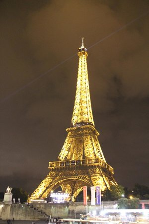 The Eiffel Tower At Night From The Canal Boat Picture