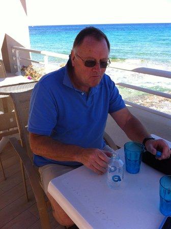 Hotel Beau Rivage : Coffee overlooking Algajola beach.