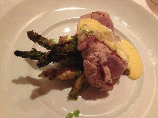 Pesce Italian: Dinner Special: Seared Tuna with an Orange Cream Sauce alongside Roasted Potatoes & Asparagus -