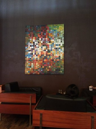Joma Bakery Cafe: A colorful art piece in the cafe