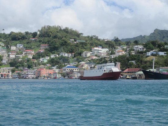 Grand Anse Beach : St Georges vu du bateau en allant à Grand Anse