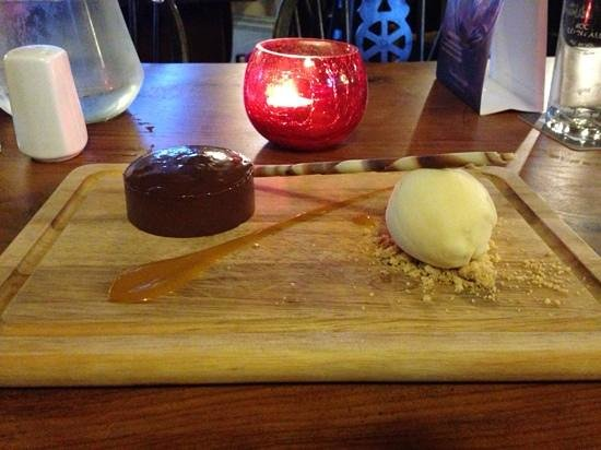 Ide, UK: dark chocolate mouse with passion fruit sorbet