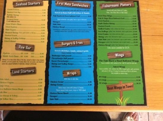 Fish Shack: menu