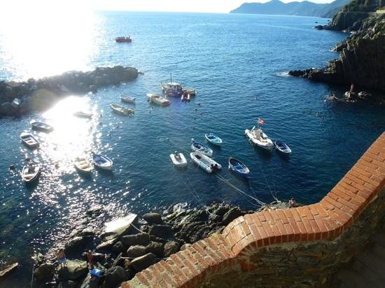 La Scogliera: view from the steps leading up to our room