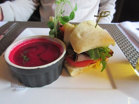 Heirloom Cafe Bistro: House Roast Beef sandwich with corn relish