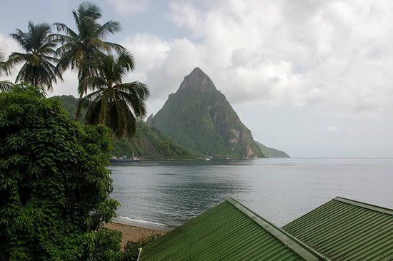 Still Beach House: View of Soufriere Bay from our room
