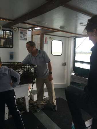 Plymouth Cruises aboard Lobster Tales: Captain Paul talking about what's in the trap