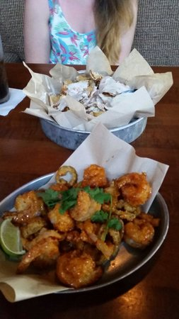 Brick House Tavern + Tap : Blue cheese chips and sweety and spicy shrimp, YES PLEASE!