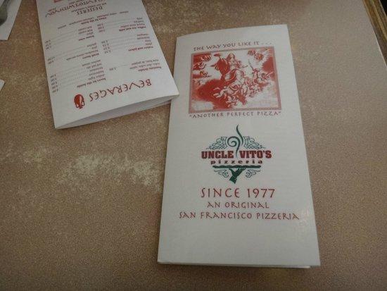 Uncle Vito's Pizzeria: Cardápio