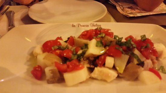 La Pancia Felice: appetizer octopus with tomatoes & herbs