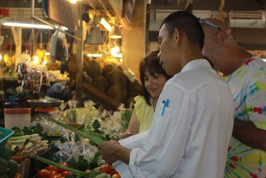The Senses Resort: At the markets selecting produce for Thai cooking class