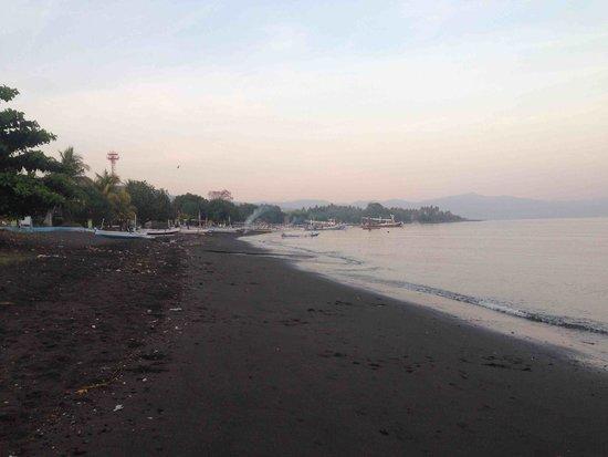 Villa Agung Beach Inn: View of fishing boats and beach