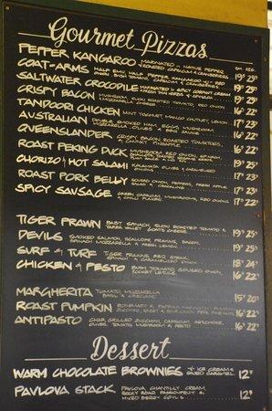 The Australian Heritage Hotel: Pizza Menu Board
