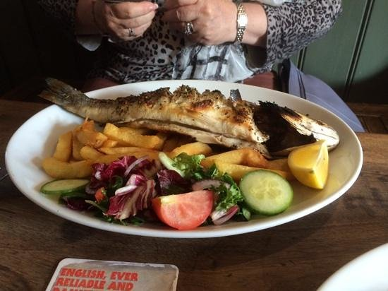 Grilled Sea Bass at The Prince of Wales, Stow Maries.