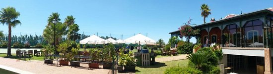 par vista terraza y jardines