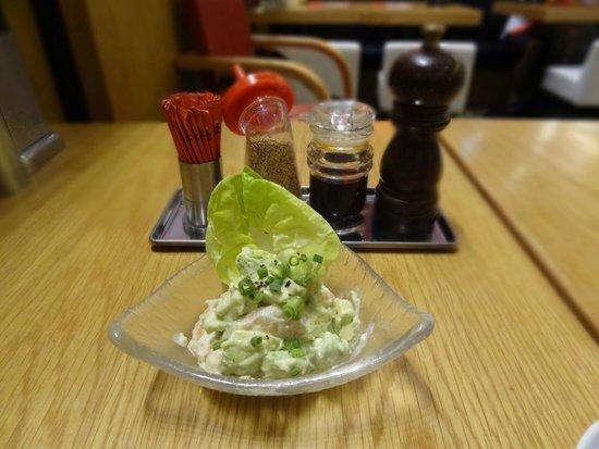 Hakata ippudo : Shrimp and avocado salad in wasabi sauce