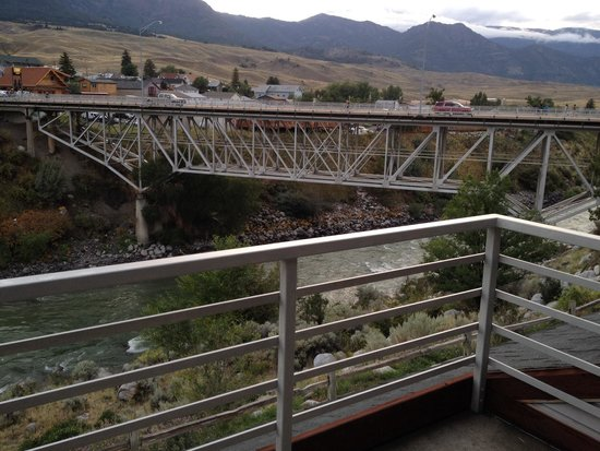 Yellowstone's Absaroka Lodge: View from our balcony (bridge over Yellowstone River in Gardiner MT)