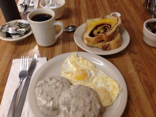 Brandon & Laura's Cafe: Sausage gravy special w/cinnamon toast.