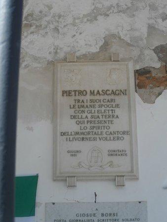 Santuario di Montenero: la lapide commemorativa di Mascagni