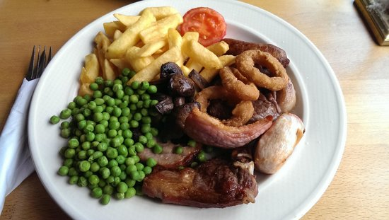 Clutton, UK: mega mixed grill, all over cooked