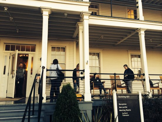 Cavallo Point: Meeting up in the morning before our conference. There are rocking chairs out front with a view