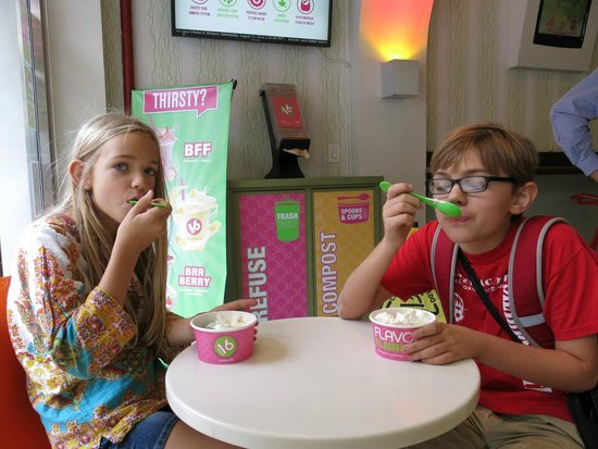 New York Food Tours: Yogurt you can fill up with any type and toppings, in a large cup