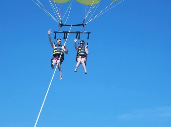 Gators Parasail : My husband and I waving at the crew! They also take photos for you!!