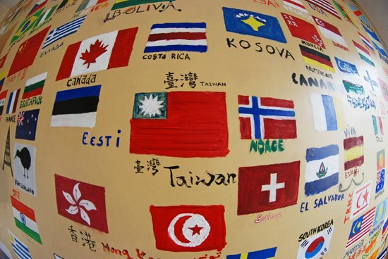 The Monk's Bunk Kaunas: The wall of flags:)