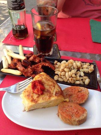 Louise Se Va_ Sitges: Tortilla and chorizo tapas.