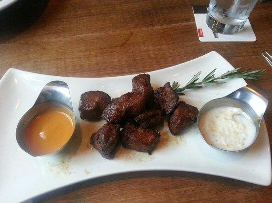 Chop Steakhouse & Bar: Steak Bites at Chop.  So yummy.  Dijon bbq and horseradish aioli dips.