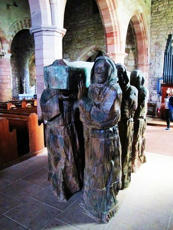 Holy Island, UK: Sculpture inside the church