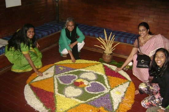 The Four Seasons Homestay Wayanad: Flower rangoli or pookalam, Onam special