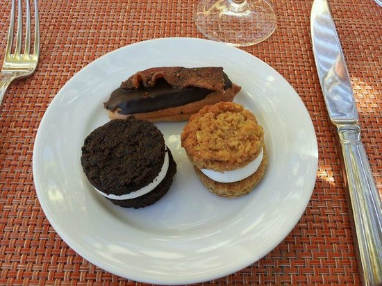 Brix: all house made oreo cookie, oatmeal whoopie pie, eclair topped w/pepper bacon